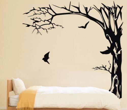 Grandes árboles negros y pájaros pegatinas de pared calcomanía extraíble arte casa mural vinilo 200X190CM