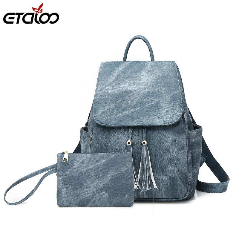 Женские Водонепроницаемые кожаные рюкзаки, женский рюкзак, школьный рюкзак, модная дорожная сумка для девочек, сумки, рюкзаки, 2 шт./компл.
