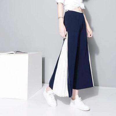 Новые стильные уникальные плиссированные широкие брюки с прострочкой на весну и лето, шифоновые брюки-кюлоты, повседневные брюки, брюки