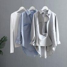 Blusa Coreana de manga larga para primavera y verano, camisa Vintage para mujer, 2021