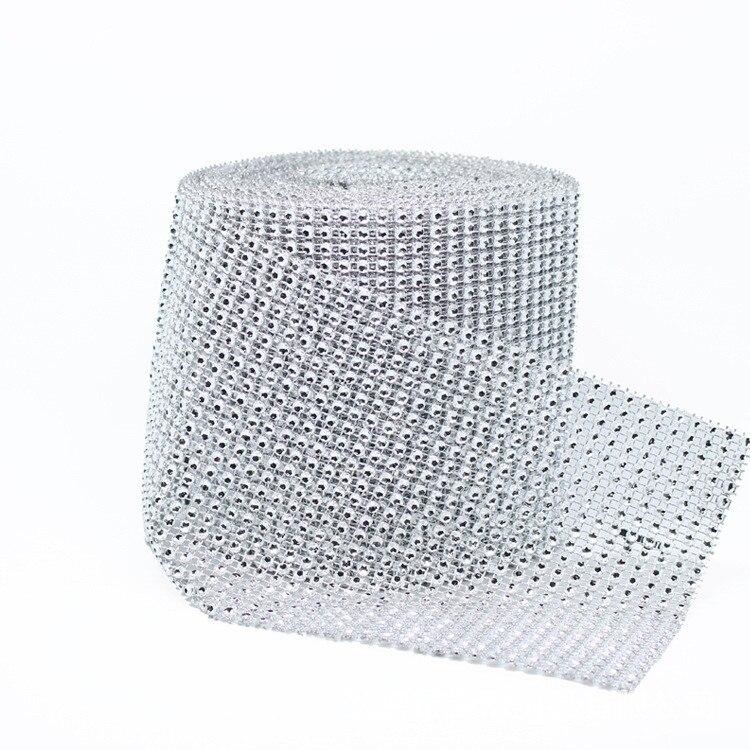 10 yardas/lote 24 filas diamante cristalino cuerda cinta cadena diamante malla brillante fiesta boda decoración envoltura plata
