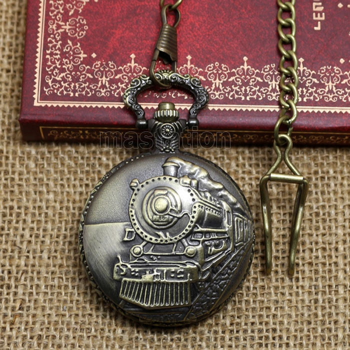 Estilo victoriano bronce vintage retro vapor tren cabeza cuarzo movimiento bolsillo reloj collar cadena Pedant P107C