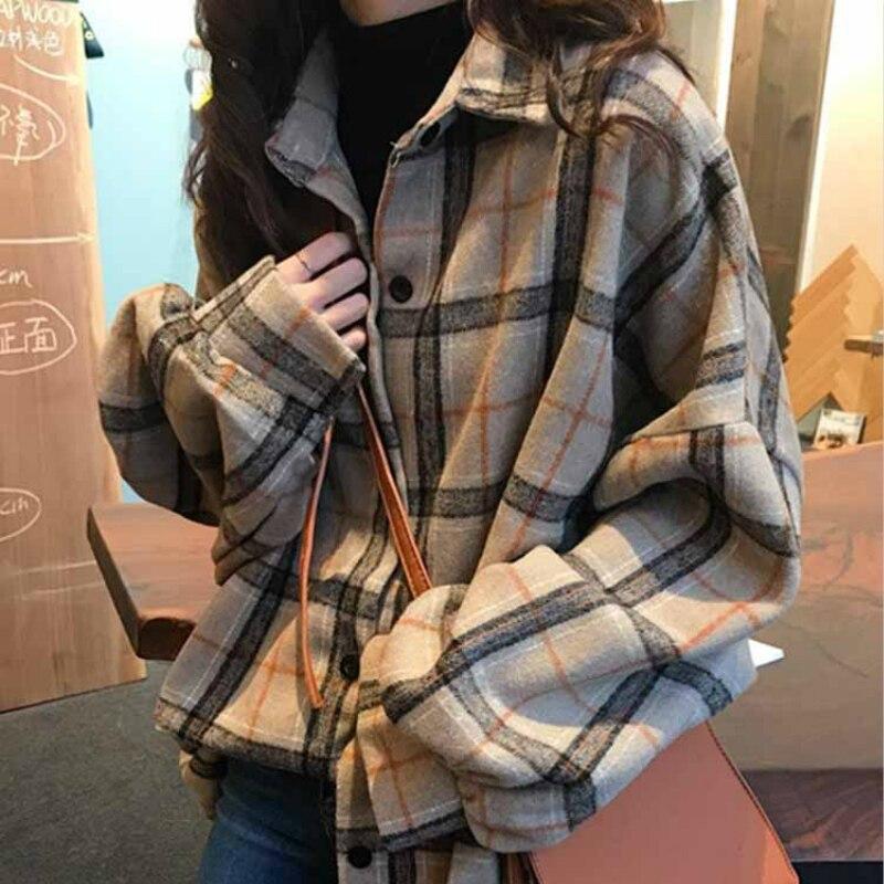Mazefeng 2019 primavera camisa feminina estilo solto camisa feminina casual das senhoras das mulheres topos xadrez de lã camisa de pano streetwear
