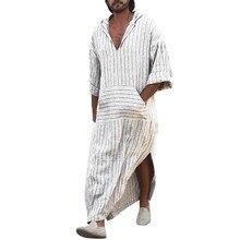 Erkekler elbise elbise uzun kollu kapşonlu pamuklu v yaka tam uzunlukta bornoz doğal Hem uzun elbise gömlek tatil plaj Kaftan
