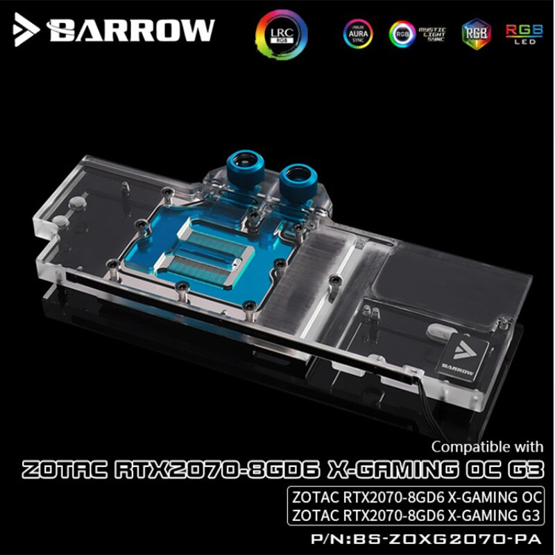 BS-ZOXG2070-PA, Barrow 5V LRC 2.0 Full Cover Graphics Card Water Cooling Blocks, For Zotac RTX2070-8GD6 X-Gaming OC G3