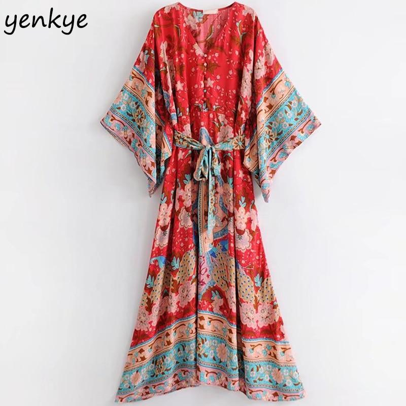 Женское платье с цветочным принтом Boho, повседневное пляжное длинное платье с треугольным вырезом, рукавом «летучая мышь» и ремнем, модель ...