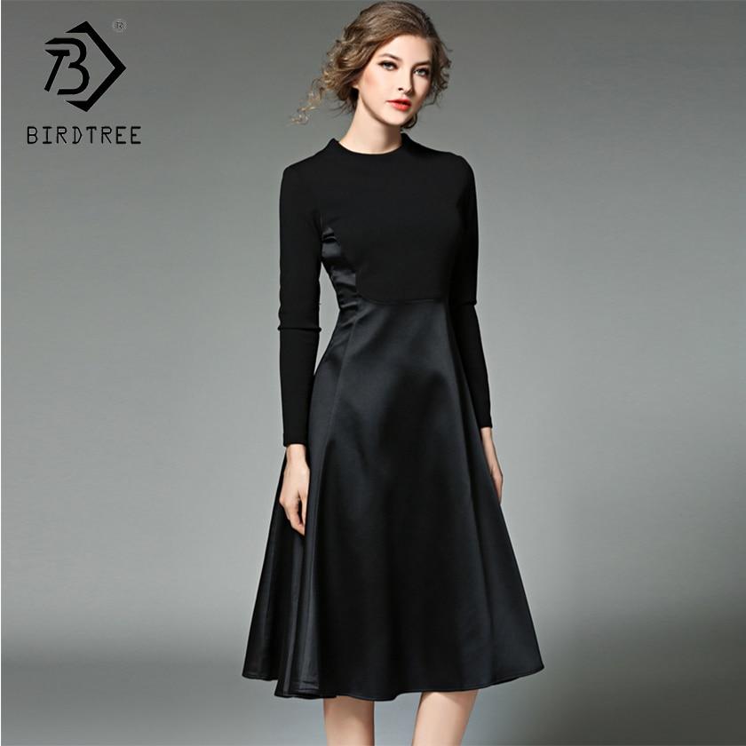 2019 inverno nova chegada vestidos femininos o-pescoço moda retalhos mid elegance império manga cheia faixas roupas finas d88216l