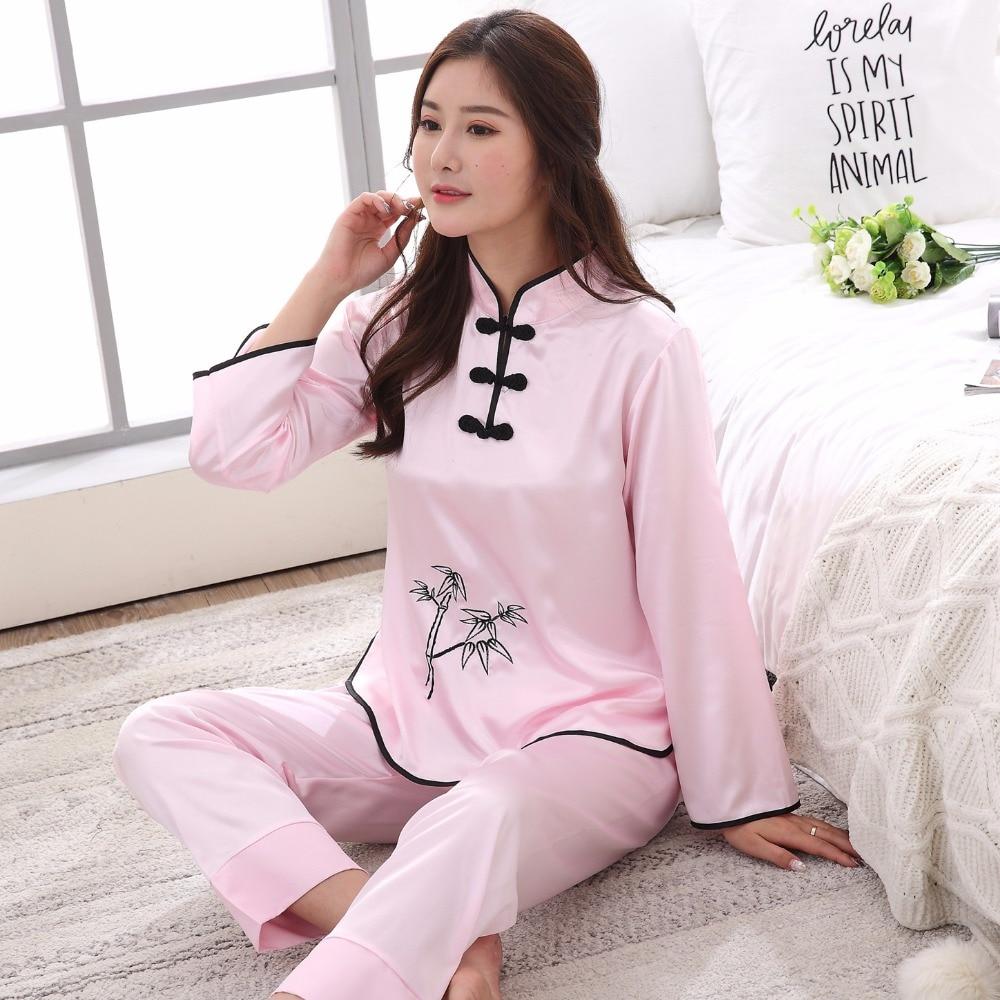 Sexy Pink Chinese Female Rayon Pajamas Set Novelty Embroidery Women Pyjamas Suit Causal Lounge Girl Home Wear Sleepwear M-XXL