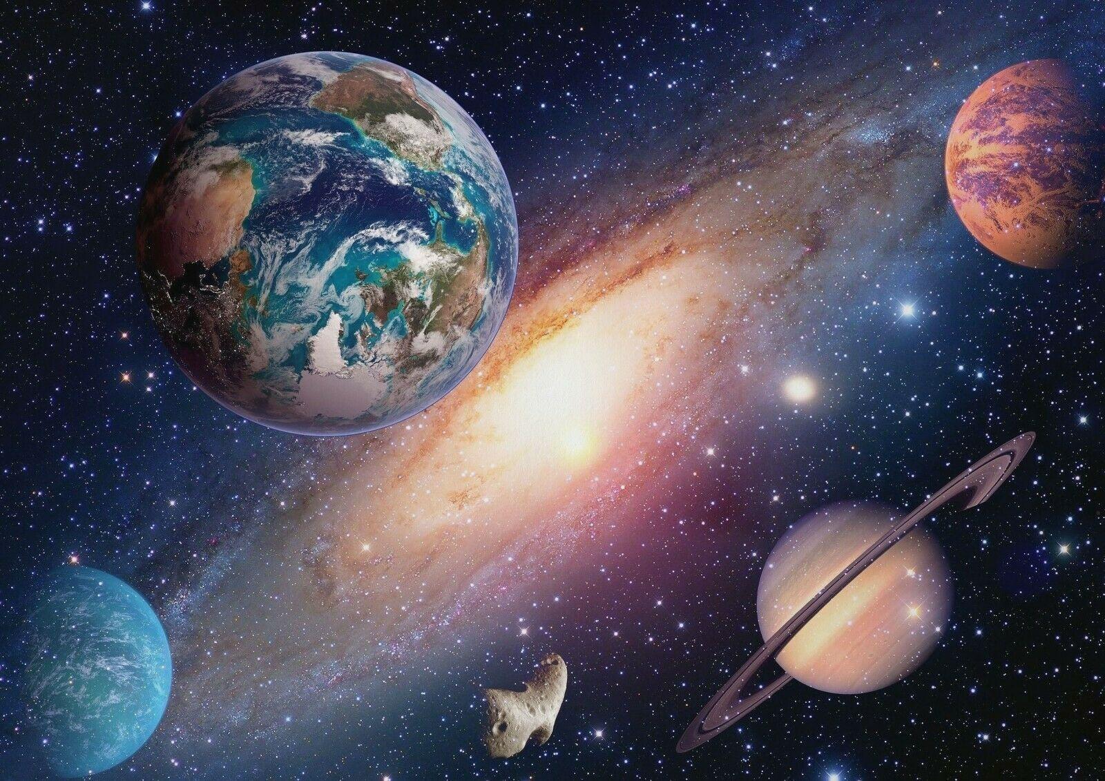 N2864 Sistema Solar espacio Cosmos pegatina de pared seda póster de tela arte decoración interior brillante