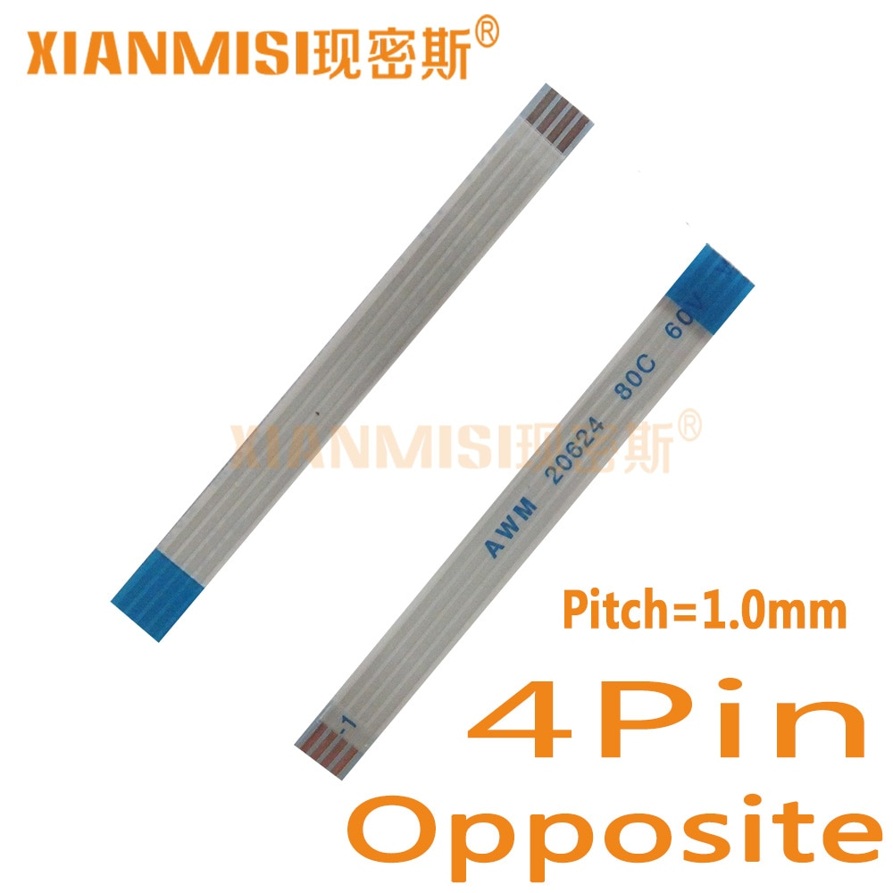 4Pin Flexible Flat Cable FFC lado opuesto 1,0mm AWM 20624 80C 60V Longitud 40cm 45cm 50cm 60cm 80 cm, 1M 2M 1,5 M 3M 5 uds