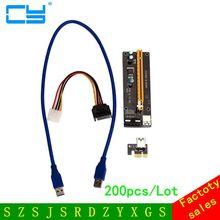 200PCS PCI-E PCI Express Riser Card 1x to 16x USB 3.0 Data Cable SATA to 4Pin IDE Molex Power Supply for BTC Miner Machine RIG