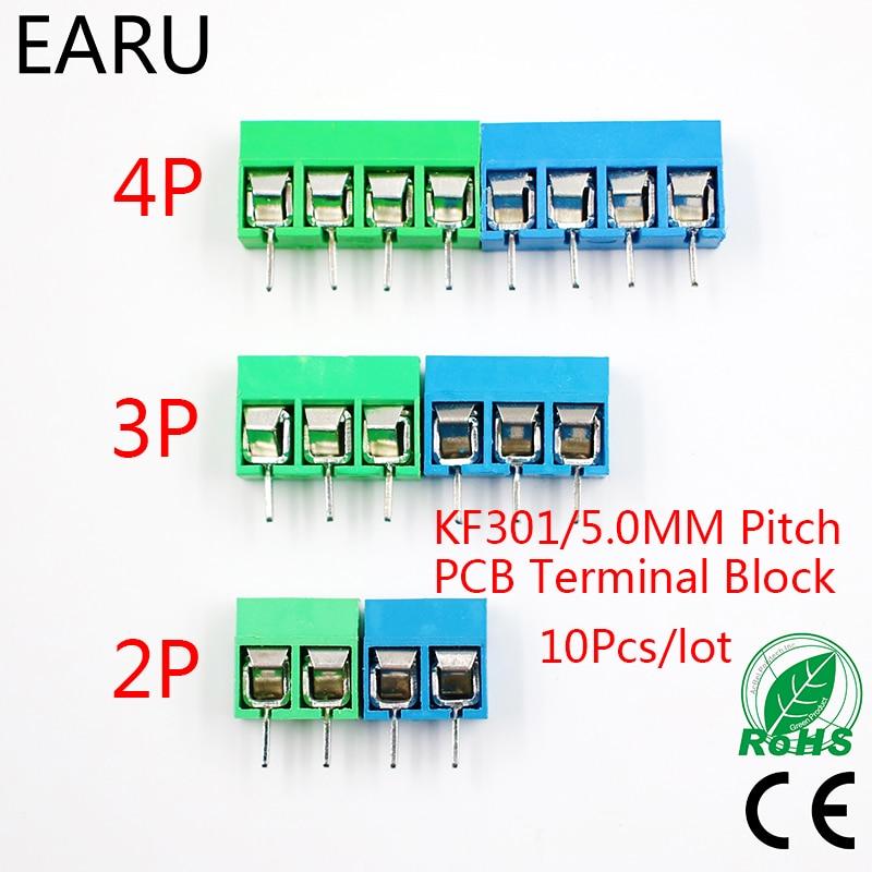 10Pcs/lot KF301-5.0-2P KF301-3P KF301-4P Pitch 5.0mm Straight Pin 2P 3P 4P Screw PCB Terminal Block Connector Blue Green