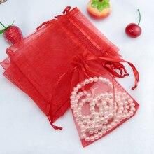 Vendita calda 100 pz/lotto 7x9 cm Sacchetto di Organza Rosso Piccolo Sacchetti di Imballaggio Dei Monili del Regalo Di Natale di Cerimonia Nuziale Bomboniere Bomboniere sacchetto del regalo Borse multiuso