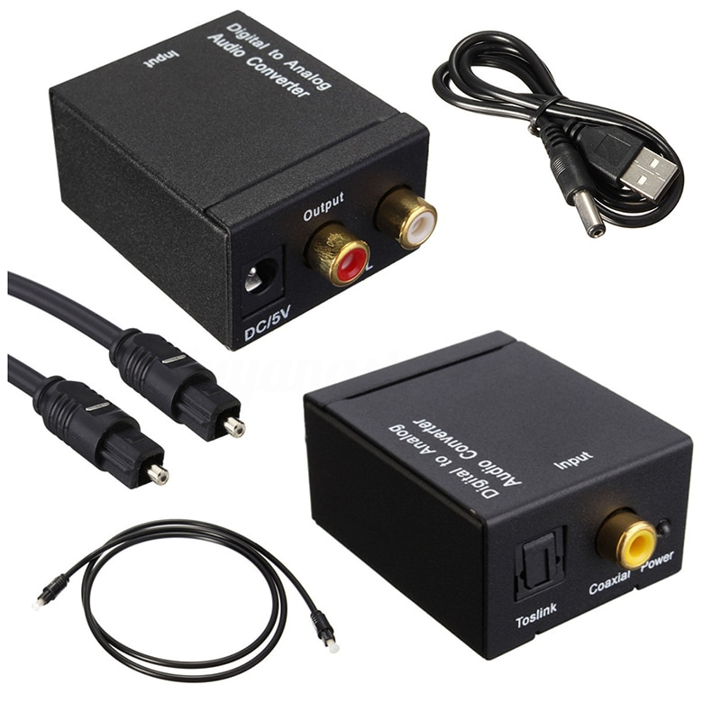Digital Optical Coaxial Toslink Signal to Analog Audio Converter Adapter RCA SV