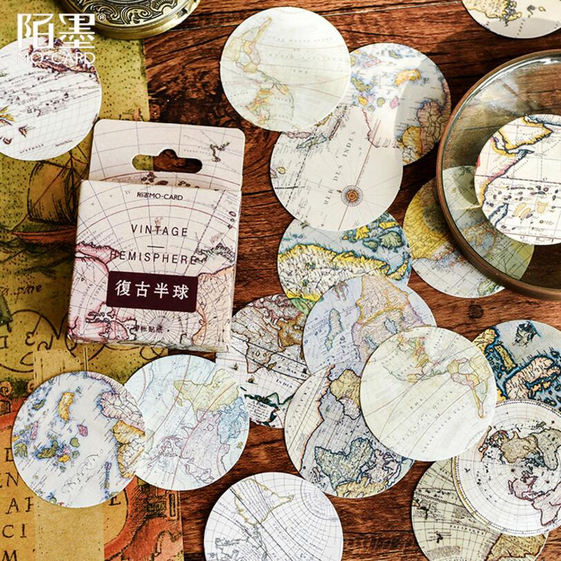 46 Uds. De pegatinas decorativas de viaje alrededor del mundo con póster vintage creativo, pegatinas de papelería para álbum de recortes DIY álbum diario Stick Lable