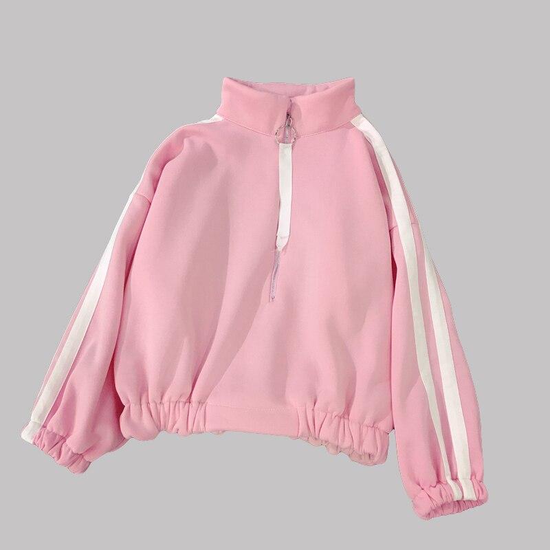 Cutey Pink Zipper Ribbon sudaderas mujer 2018 de cuello alto prendas de vestir exteriores ropa Casual femenina suelta estudiante abrigo caliente chica XXL H
