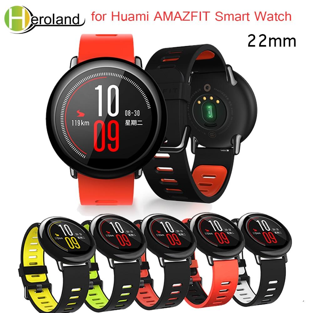 Correa de muñeca 22mm bandas deportivas de silicona para Xiaomi Huami Amazfit Bip BIT Ritmo ligero reloj inteligente juvenil correa de repuesto Smartwatch