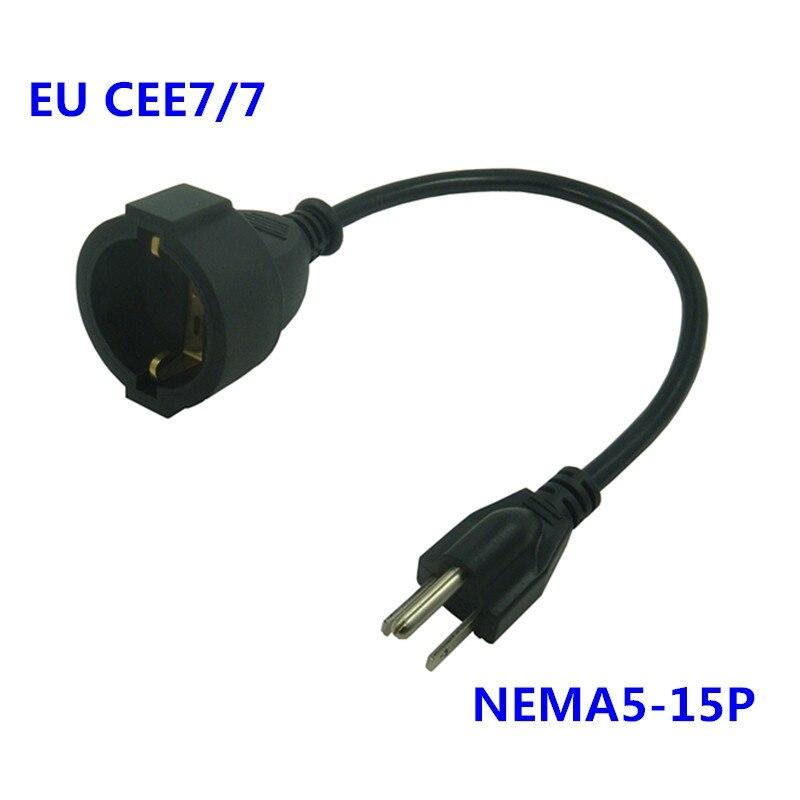 20cm NEMA 5-15P 3Pin macho a la UE CEE7/7 PDU UPS hembra SCHUKO 10A 250V corto Cable Digital portátil convertidor de electricidad Cable CEE7