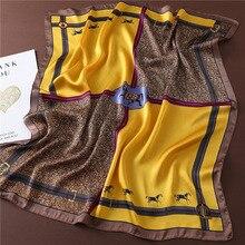 Femmes Foulard en soie de luxe cheval imprimer marque carré cou foulards dame Foulard bandeau grand mouchoir 2020 mode