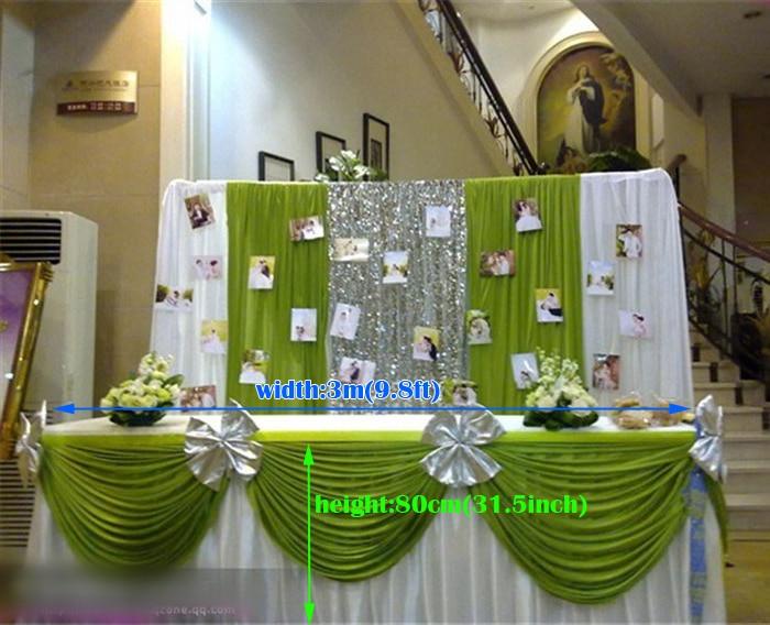 تنورة زفاف بيضاء مع غنيمة خضراء ، 300 سنتيمتر (L)* 80 سنتيمتر (H) ، للولائم ، غطاء طاولة غنيمة ، زينة الزفاف