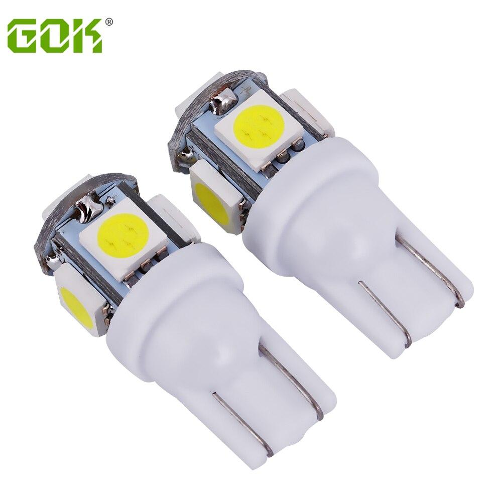 100 piezas Auto nuevo LED T10 5SMD 5050 led t10 5LED luz blanca del lado del coche luz del coche de la cuña de estacionamiento cúpula luz