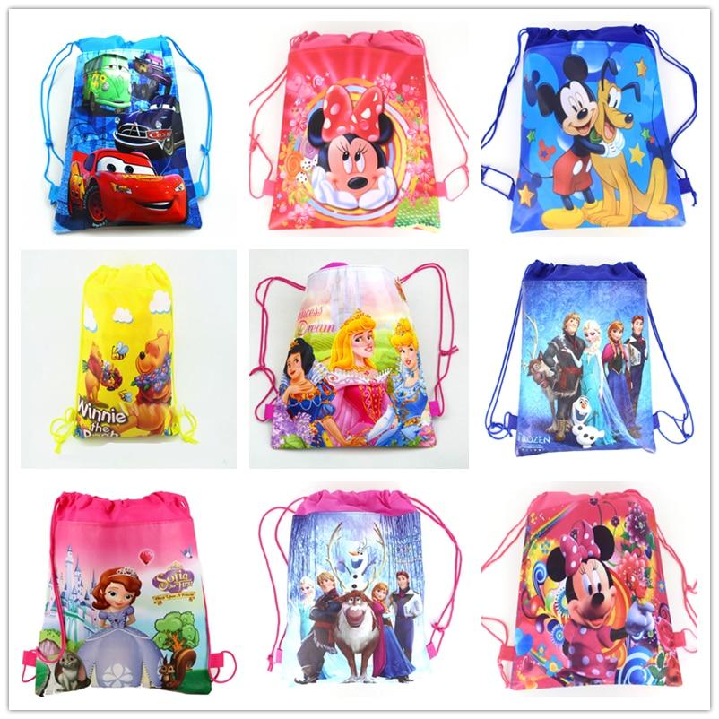 1 piezas de coches de Disney Mickey Minnie Coco Sofia congelada seis princesas Winnie bolsa de compras no tejida con cordón mochila fiesta suministros