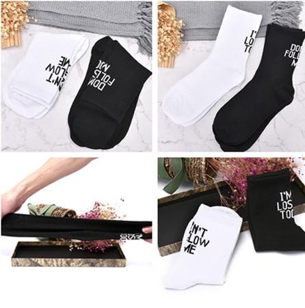 Harajuku  Dont Follow Me Casual Socks I Am Lost Too Hip Hop Street Skateboard Socks For Men And Women Happy Meias
