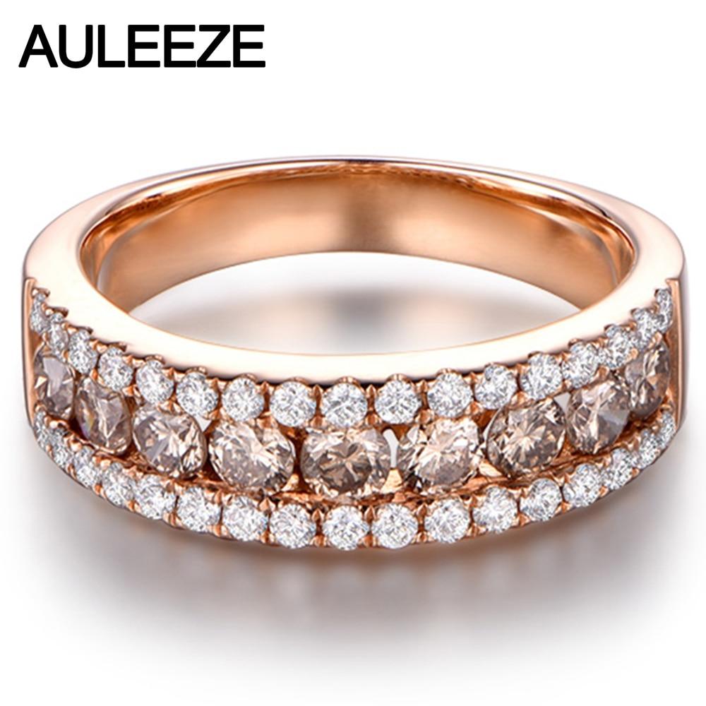 Lujosa banda de boda de diamante marrón auténtico sólido 14K 585 oro rosa anillos de aniversario de diamantes naturales para mujeres joyería fina