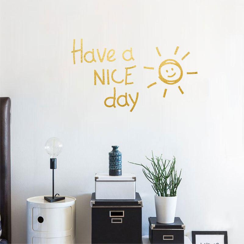 1 unidad PVC 28*16CM letra del sol patrón pegatinas de pared tener un buen día papel de pared sala de estar dormitorio extraíble calcomanías arte mural Deco