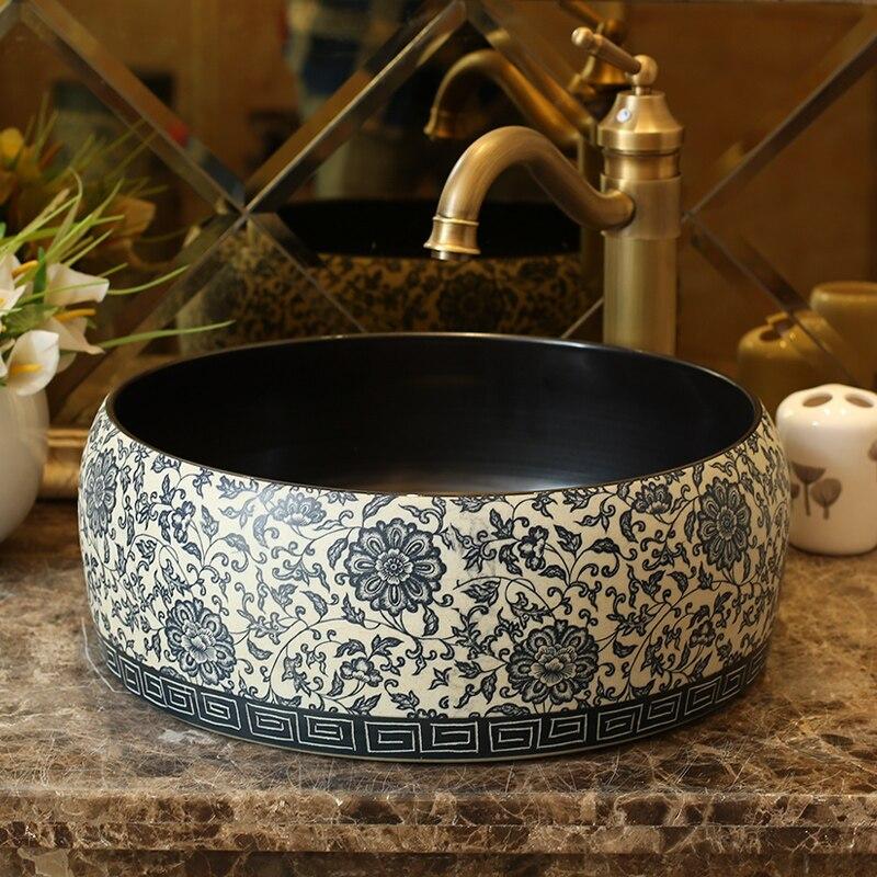 Lavabo de cerámica de estilo antiguo, Europeo, lavabo de encimera, lavabo, tocador y lavabo para baños, lavabo pintado a mano