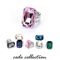 fashion crystal exaggeration elastic rope ring large size high grade simple atmosphere square zircon ring jewelry accessories