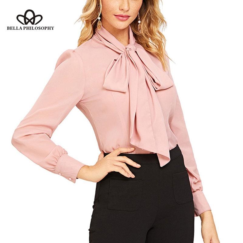 Wonder 2019 nueva primavera sólido arco cuello gasa vintage mujeres blusa elegante camisa linterna manga corbata blusa femenina nuevo