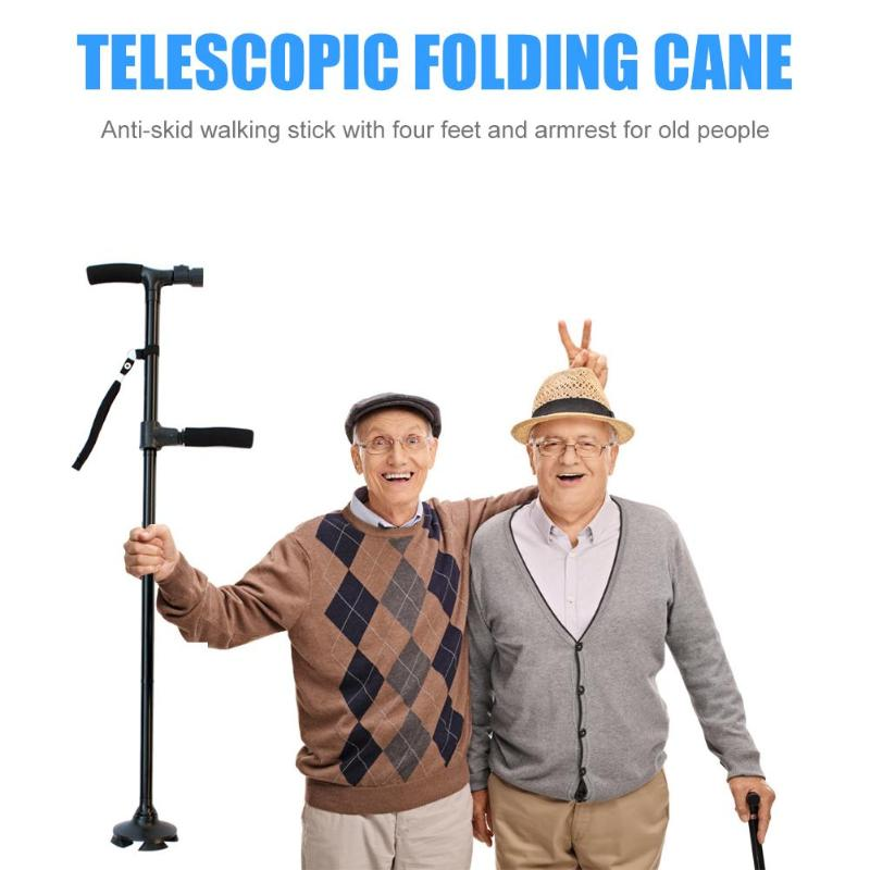 Nuevos bastones plegables telescópicos, luz LED, bastones para caminar envejecidos para bastón telescópico para hombre mayor, antideslizante con luz LED