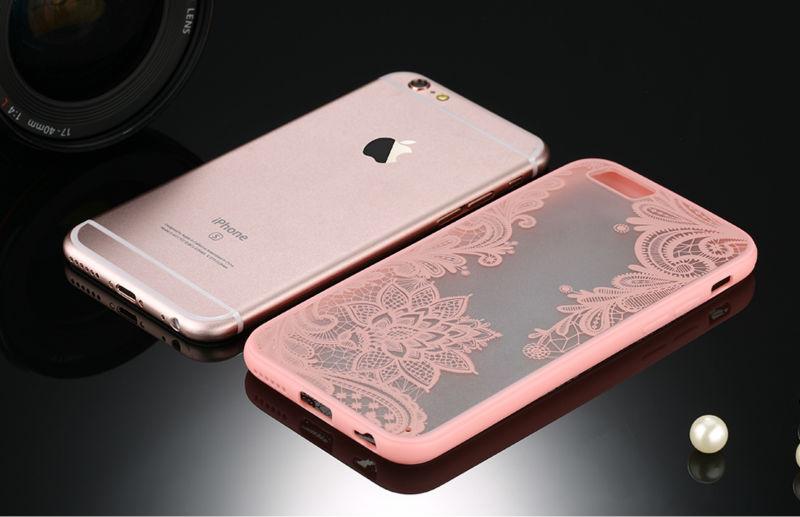 Sexy retro floral phone case dla apple iphone 7 6 6 s 5 5S SE Plus Koronki Kwiat Dysk PC + TPU Przypadki Back Cover Capa Dla iPhone7Plus 8