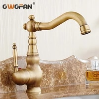 antique solid brass basin faucets bathroom decoration classic single handle faucet hot and cold water mixer tap hj 6717f