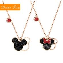 Dessin animé Kawaii souris pendentif collier titane acier chaîne collier incrusté cristal mode femmes bijoux à la mode cadeau danniversaire