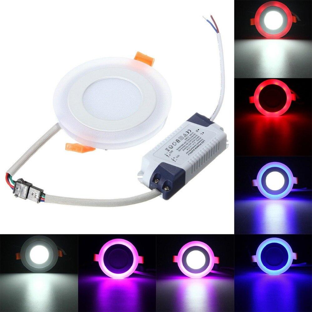 10 قطعة LED النازل جولة 6W - 24W 3 نموذج LED مصباح مزدوجة اللون لوحة ضوء RGB و الأبيض السقف راحة مع التحكم عن بعد