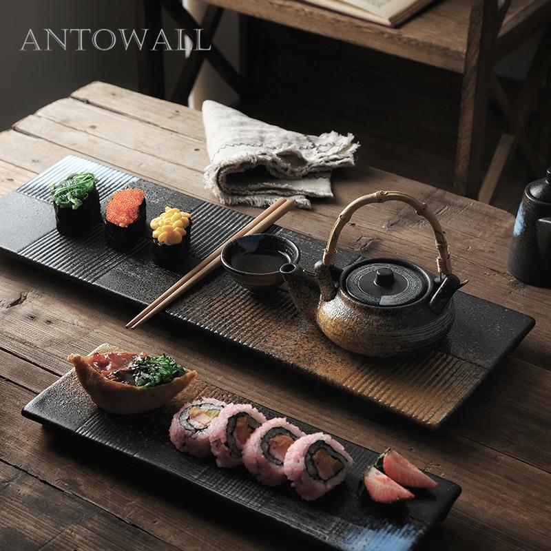 ANTOWALL-طبق سوشي مستطيل ، ساشيمي ، سيراميك ياباني ، شريط مطعم عتيق