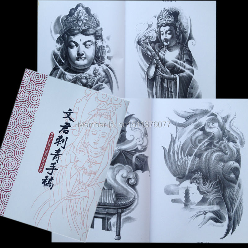 Envío Gratis, tatuaje Flash WENJUN de China, libro de bosquejo A4, Buda, León, bestia, elefante, dragón KOI
