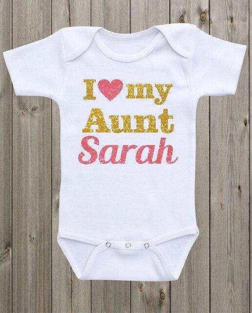 Body de bebé con purpurina de nombre I love my Aunt, traje Pelele de una sola pieza para casa, camisa para niños pequeños, regalos para fiesta de cumpleaños