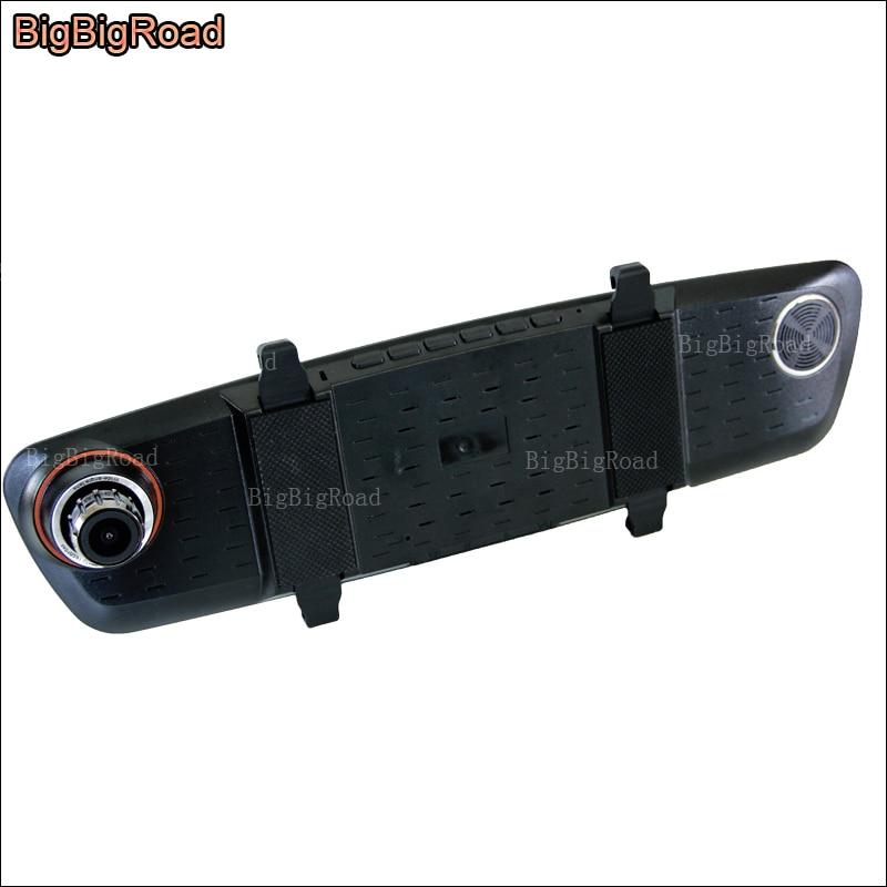 BigBigRoad para toyota vios avalon Car DVR lente Dual azul pantalla espejo retrovisor cámara Video grabador aparcamiento monitor
