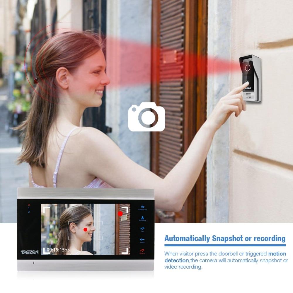 TMEZON 7 Inch TFT Wired Smart Video Doorbell Intercom System with 2 Night Vision Monitor + 1x1200TVL Rainproof Door Phone Camera enlarge