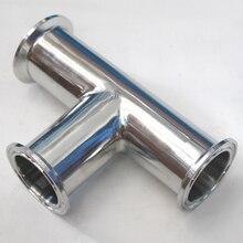 """1-1/4 """"1.25"""" tubulação od 32mm sanitária 3 vias t aço inoxidável ss304 solda virola od 50.5mm ajuste 1.5 """"tri braçadeira"""