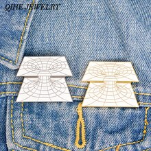 QIHE JEWELRY Geometric Pins Curved Line Lapel pins Brooches for men women unisex Minimalist jewelry