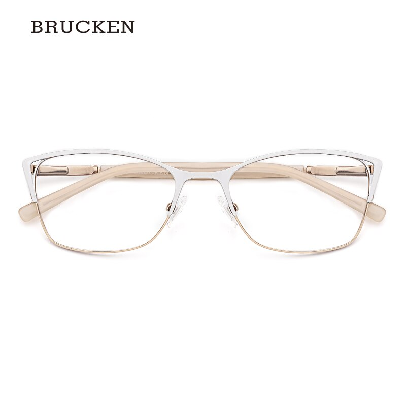 Marco de metal para gafas, gafas ópticas para mujer, montura de ojo de gato de color blanco, montura de gafas para mujer # TWM7554C4