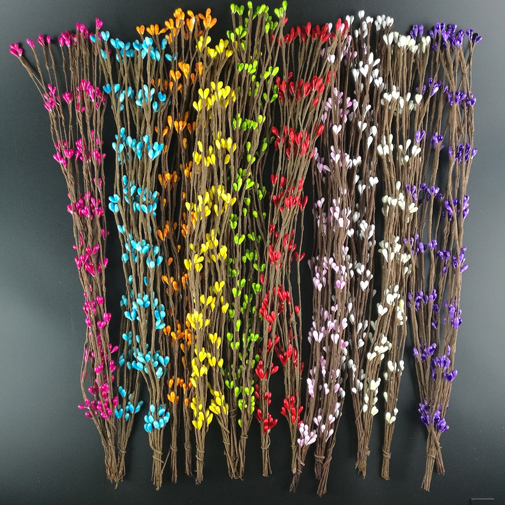 10 шт., дешевые искусственные ветки 40 см, железная проволока для украшения свадьбы, скрапбукинга, декоративные венки, искусственные цветы