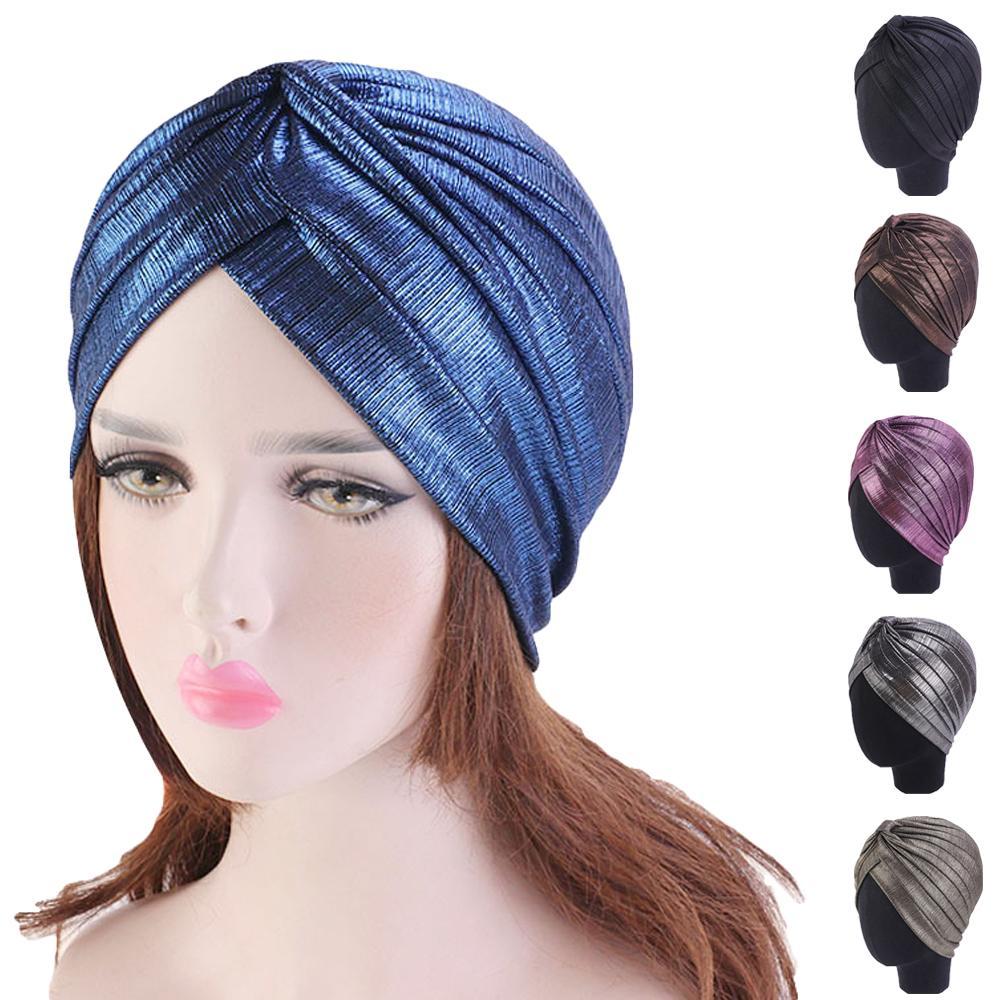 Turbante musulmán elástico Ruffle sombreros de pelo Beanie bufanda para la cabeza Wrap sombreros para mujeres Haor Loss Lady Indian Beanie sombreros de moda