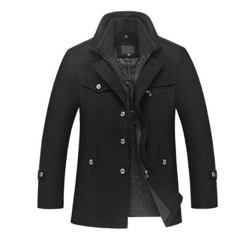 Nueva chaqueta de lana de otoño e invierno para hombre removible forro acolchado botón lana mezcla abrigo de guisante grueso acolchado chaqueta abrigo los hombres