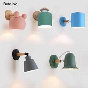 Adjustable Led Wall Lights for Home Nordic Vintage Wall Lamp Bedroom Living Room Kids Room Vanity Light Wood Iron E27 110V 220V