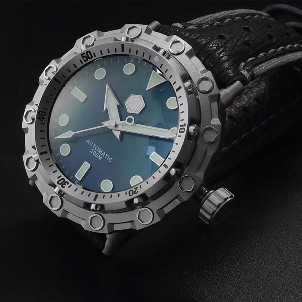 سان مارتن الرجال الأصلي طبعة محدودة ساعات آلية 200 متر مقاومة للماء القرش حزام من الجلد التيتانيوم الغوص Wriswatch